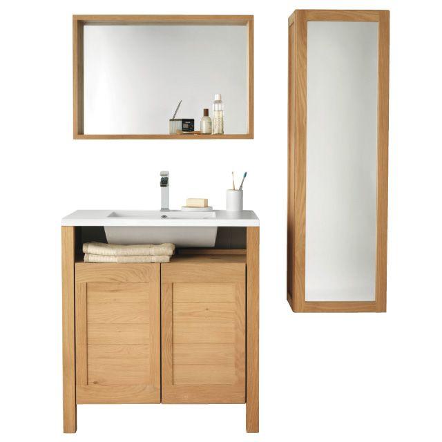 Meuble de salle de bains chªne 80 cm Massa CASTORAMA