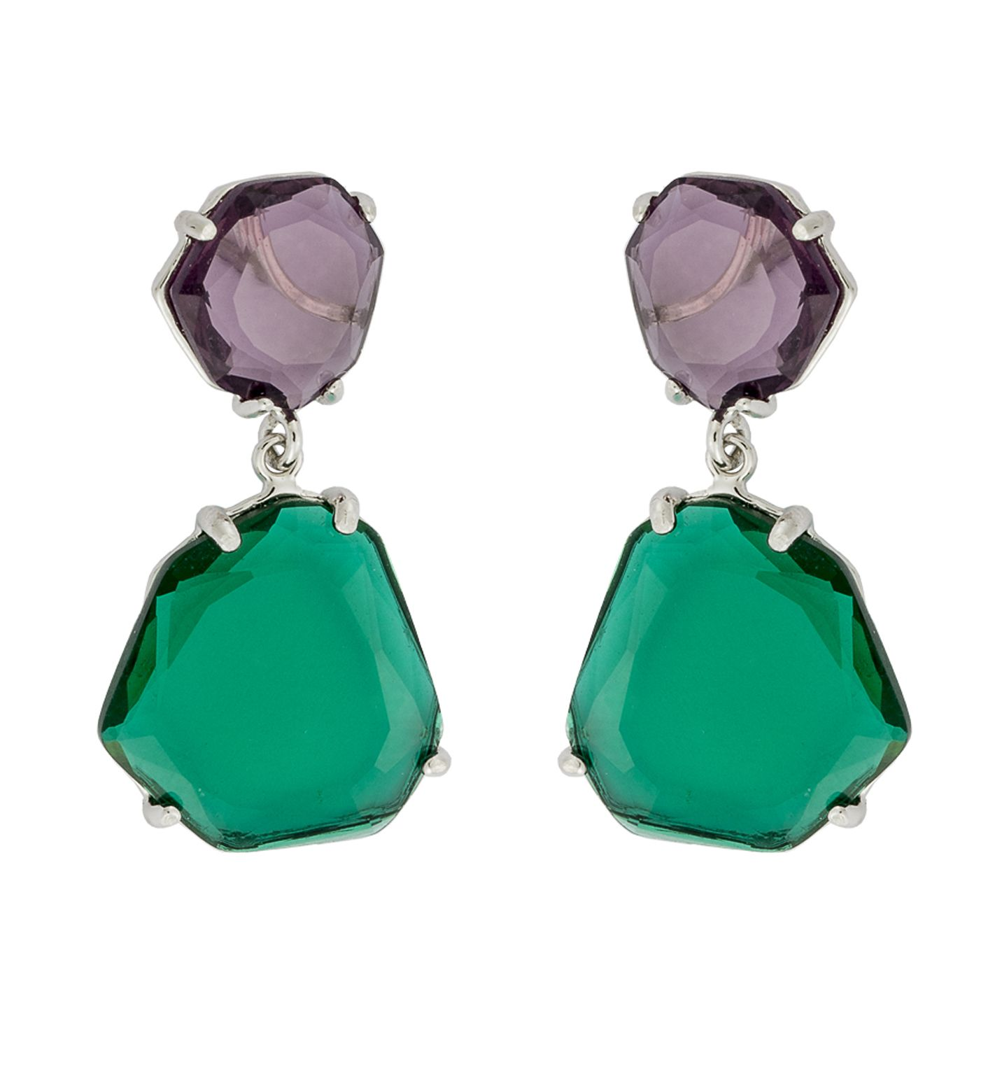 777057ecaf74 Pendientes de plata con piedra morada y verde. De Roselin Trendy ...