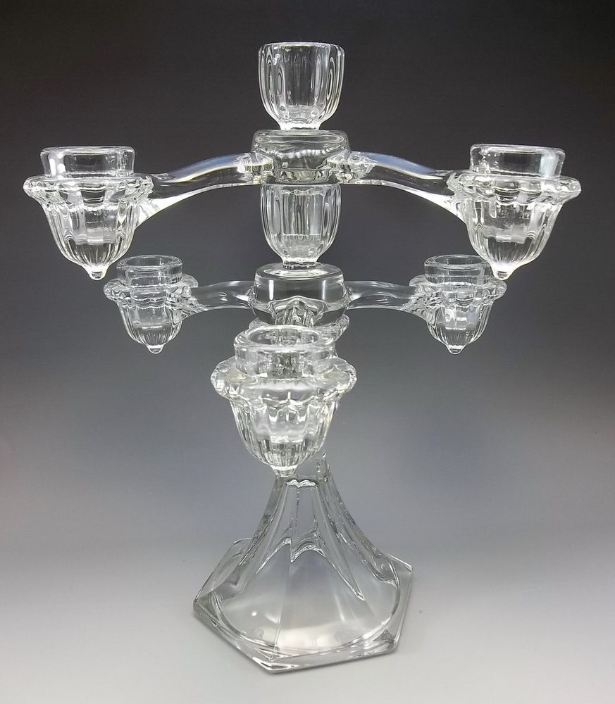 Vintage Cambridge Arms Clear Glass 1940 S Epergne Candle Holder Stick 3 Pc Vintage Glass Candle Holders Glass Candle Holders Glass
