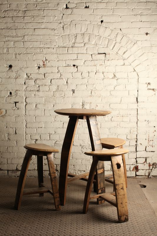 Delightful Bourbon Barrel Table And Stools From Jason Cohen Wood Artisan