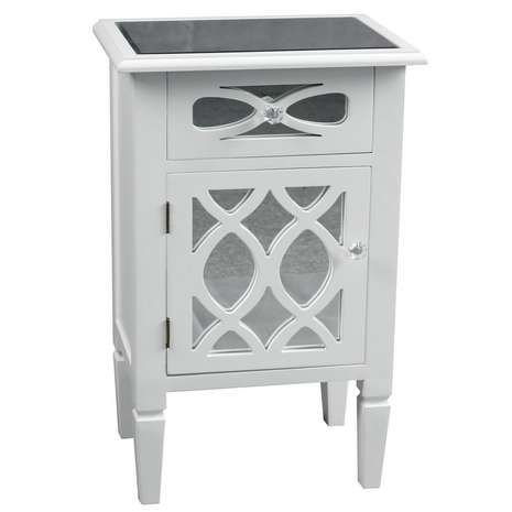 Offering A Lattice Mirrored Panel Design With Acrylic Crystal Handles, This  Fully Assembled Bedside Table