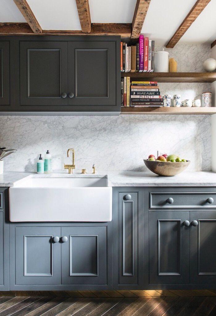 Grey Kitchen Cabinets Techos Bajos Cocinas De Casa Cocina Renovada