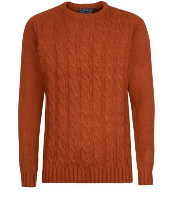 Burnt Orange Cable Knit Jumper 18 Cable Knit Jumper Knitwear Men Mens Clothing Styles