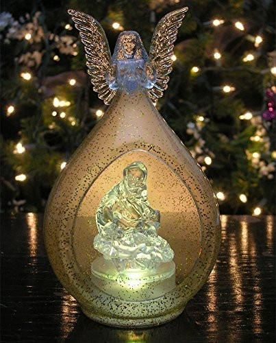 LED Lighted Christmas Ornament Angel and Holy Family Nativity Color