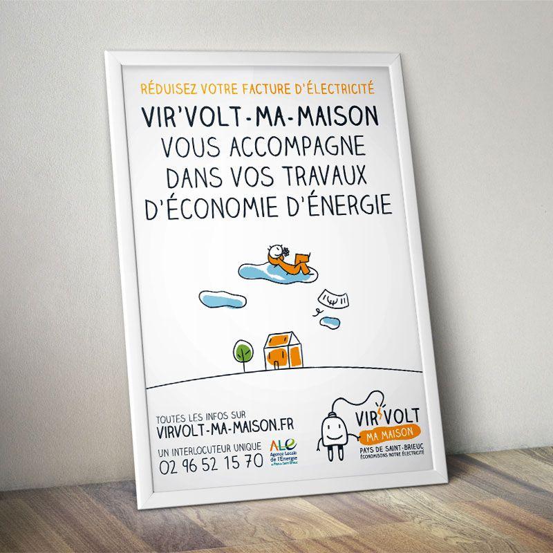 Affiche Virvolt-ma-maison - Ademe illustrations Pinterest - electricite dans une maison