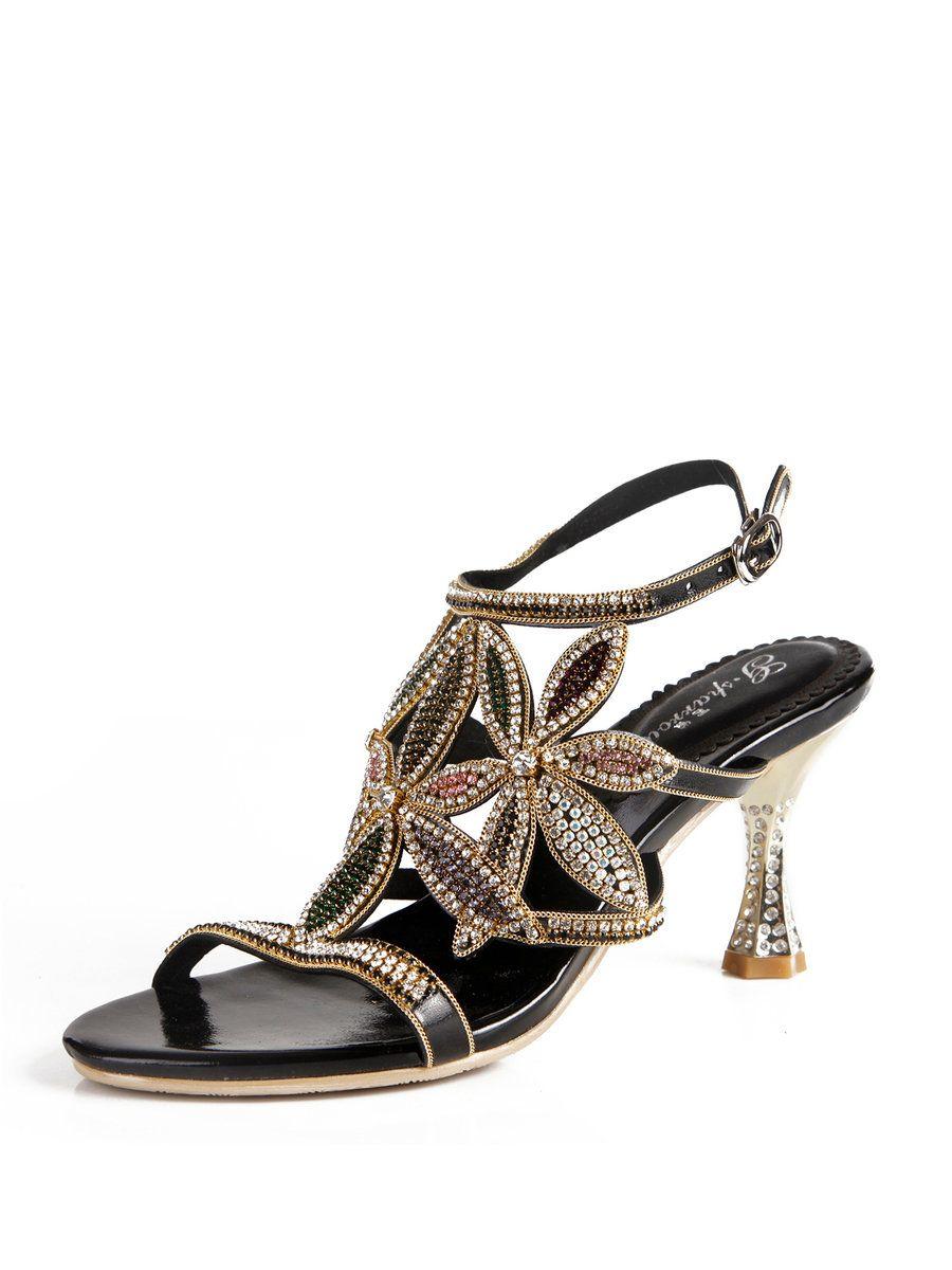 3d763f343276b  AdoreWe  StyleWe Sandals - Designer G-sparrow Black Rhinestone Summer PU  Sandal -