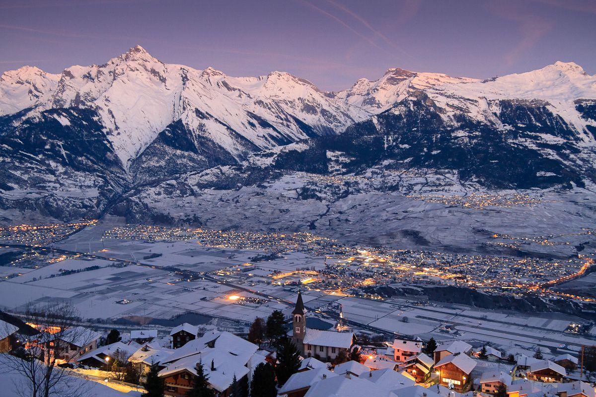 Veysonnaz and Sion, Switzerland Winter Night View | Travel ...