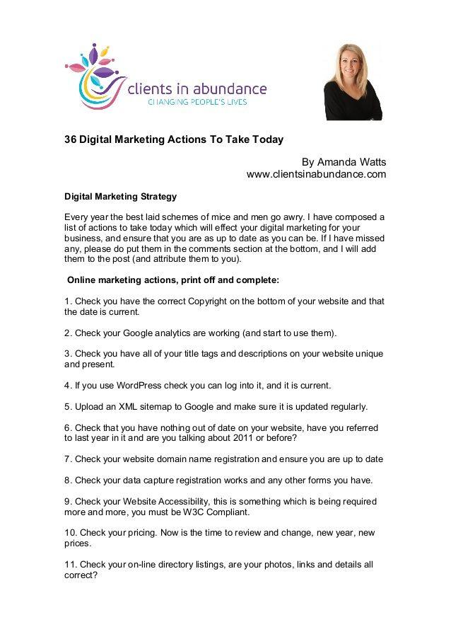 36 Digital Marketing Actions To Take Today by Amanda Watts via slideshare #health #wellness #fitness #marketing