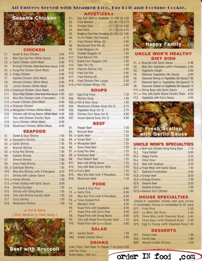 OrderInFood Food, Chinese food, Food delivery menu