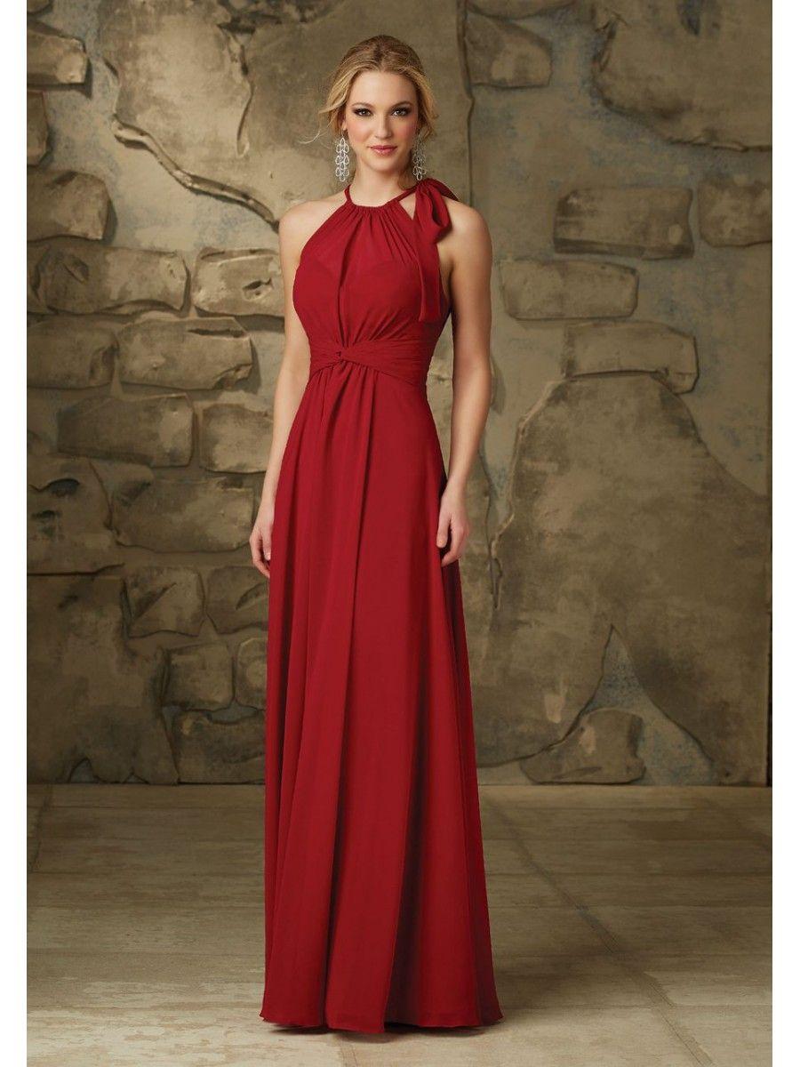 Affordable long red chiffon bridesmaid dresses