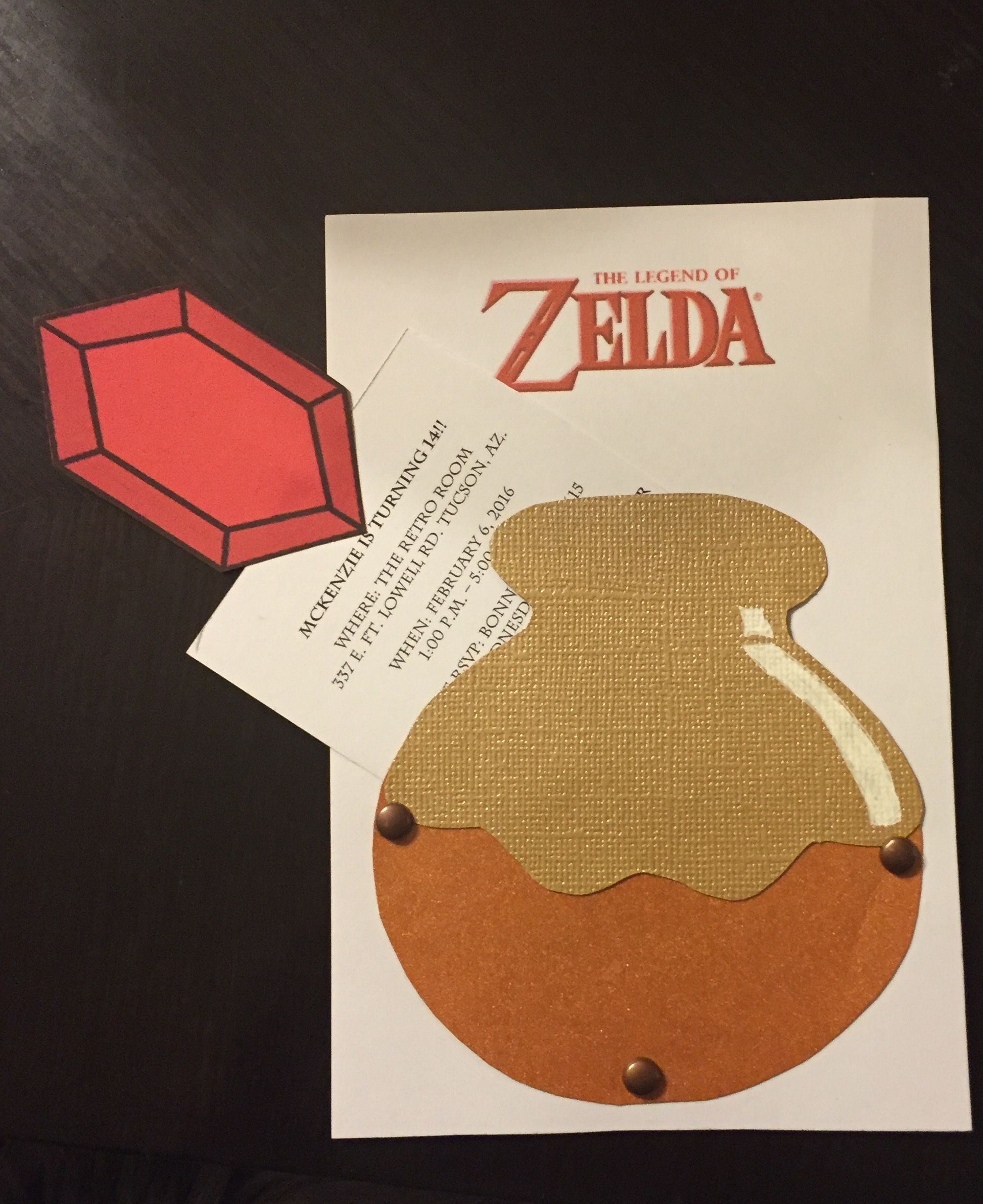 Legend of zelda birthday invitation decorations for Decoration zelda