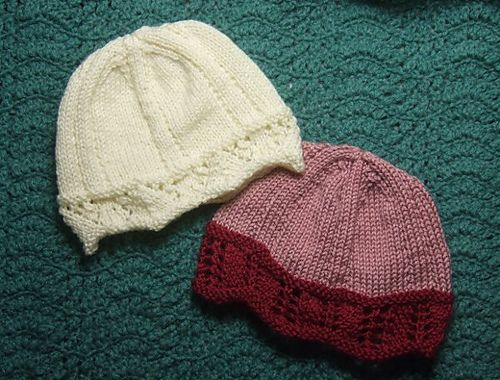 Knitting Patterns Galore Laced Edged Chemo Caps For Straight