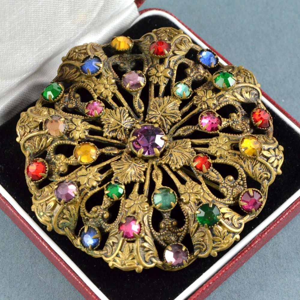Vintage Brooch Large Art Deco Multi Colour Crystal Amp Goldtone Jewellery Jewels