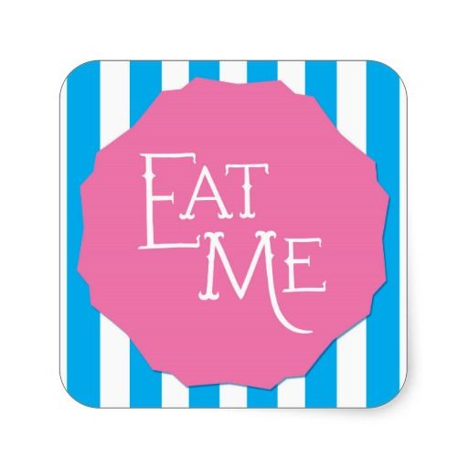 Wonderland whimsical mad tea party eat me sticker square sticker