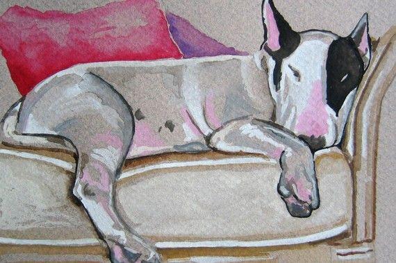 Sleeping Bull Terrier Watercolor Print, Artist Signed