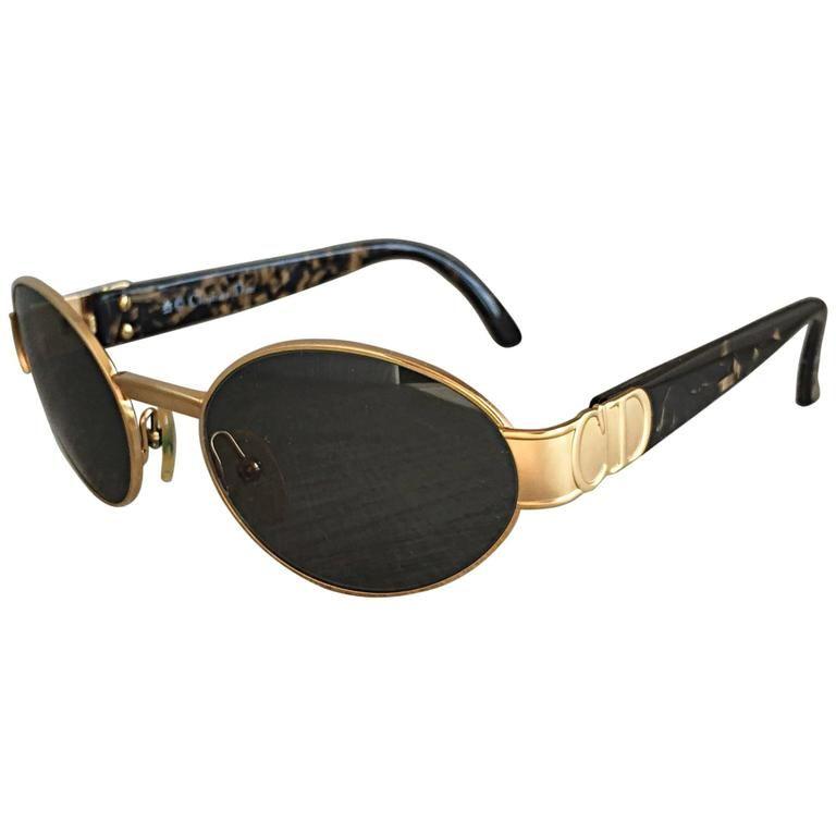 "Rare Vintage Christian Dior 1990s Round "" CD "" Logo Tortoise Sunglasses Glasses 1"
