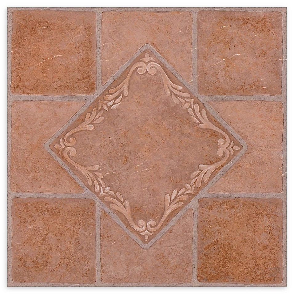 Achim Nexus 20 Pack 12 Inch South West Ceramic Floor Tiles In Red Bed Bath Beyond In 2020 Vinyl Flooring Vinyl Tile Tile Floor