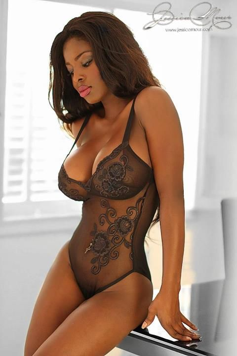 Jessica Arlette awwww shes beautiful i just adore and love black women in black lace simply gorgeous