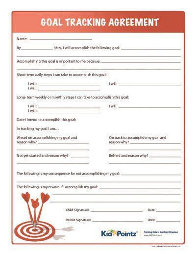 Goal Tracking Parents Helping Children Kid Pointz Parent - contract term sheet template
