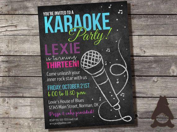 Karaoke Chalkboard Invitation Karaoke Party Rock Star Party