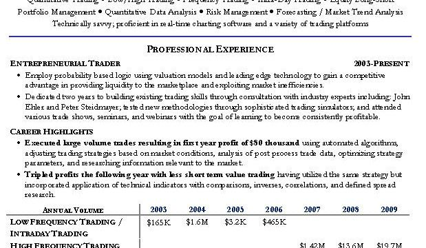Schön Prop Trading Resume Sample Galerie - Entry Level Resume ...