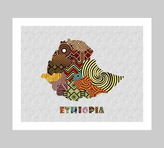 Ethiopia Map Art Print Wall Decor, Ethiopia Poster, Addis Ababa