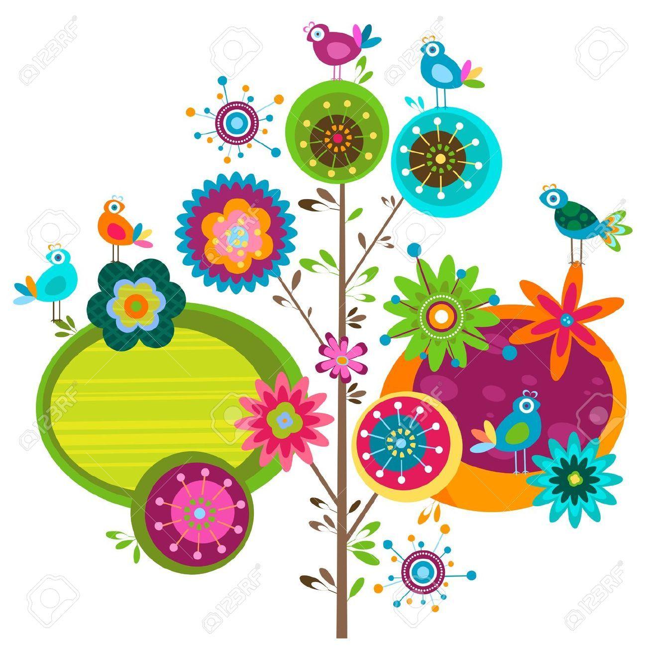 Pajaritos animados de colores en un arbol buscar con for Arboles con flores para jardin