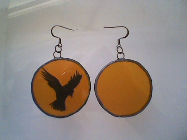 The Crow - stained glass jewelry by GabrielStudiosArt