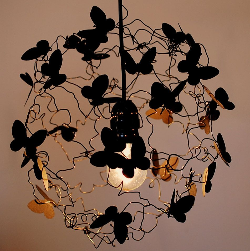 Handmade Lamp Shade Wire Lamp Shade Butterflies Lamp Fairy Lamp Art Lamp  Pendant Lighting Fixture Ceiling