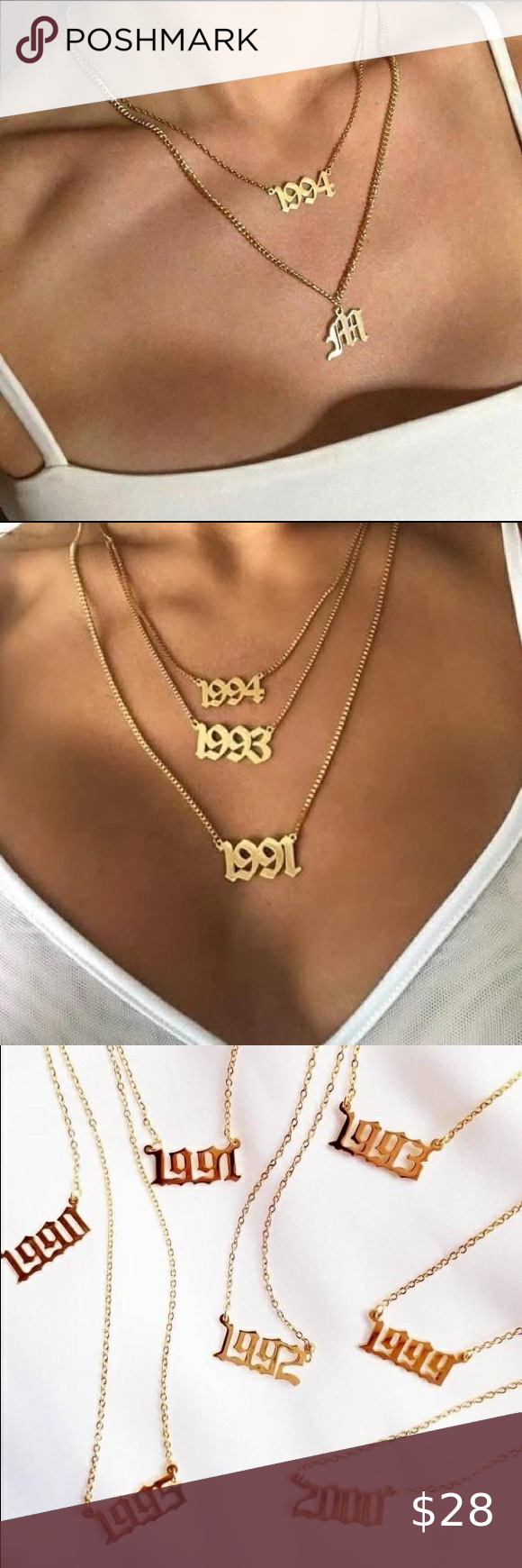 Last One 1994 Old English Birth Year Necklace Fashion Necklace Gothic Fashion Womens Jewelry Necklace
