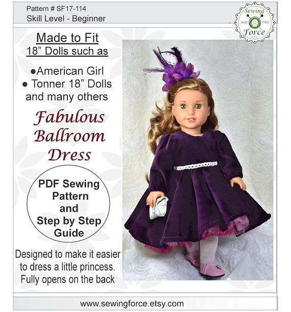 Fabulous Ballroom Dress 18 inch doll clothes pattern American | 18 ...