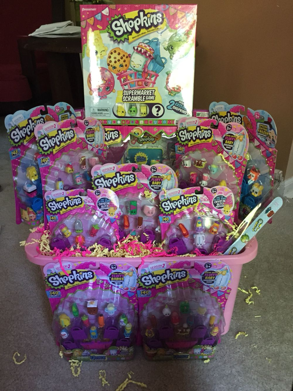Gift basket i made for 8 year old girl gifts pinterest shopkins gift basket negle Choice Image