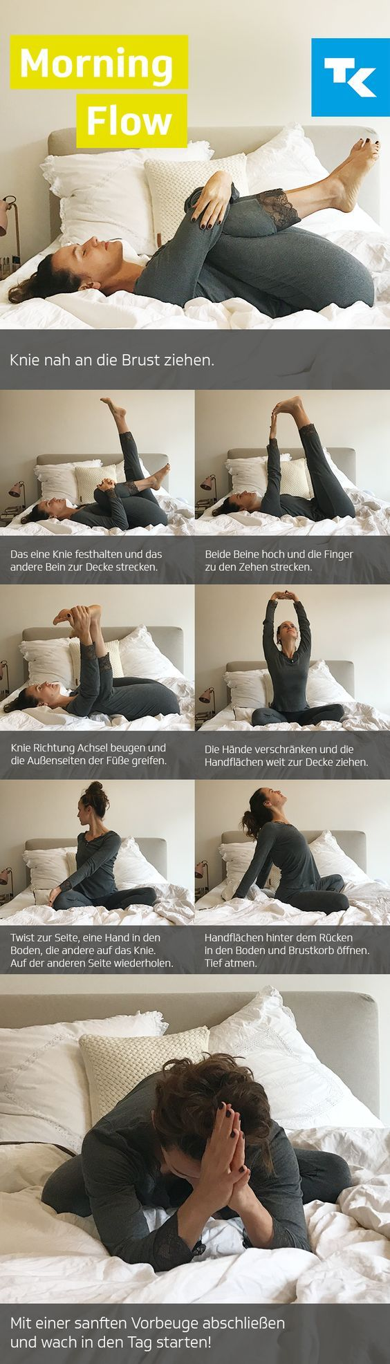 morning yoga im bett hatha yoga fitness workouts yoga und fitness bungen. Black Bedroom Furniture Sets. Home Design Ideas