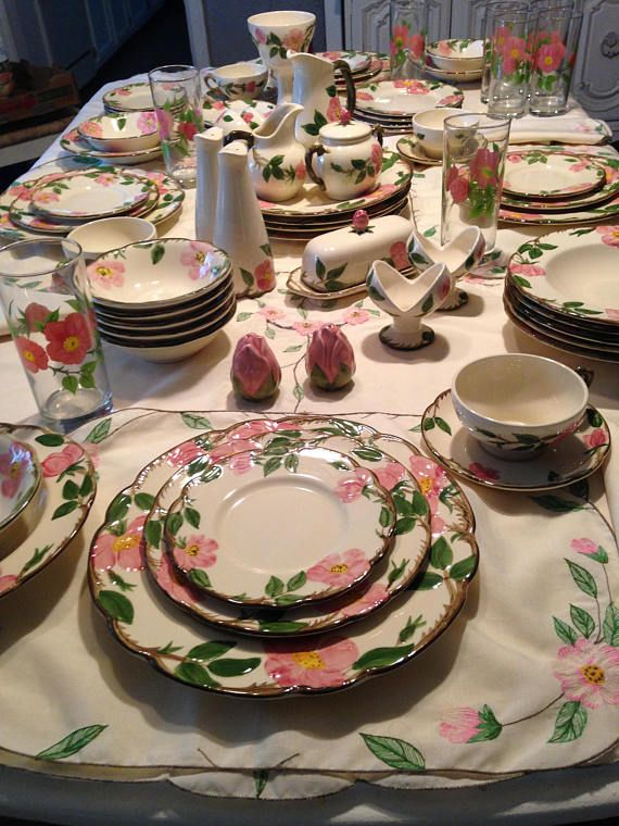 Beautiful Franciscan Desert Rose Dinnerware Set. The most popular pattern ever made in America. & RESERVED**Franciscan Desert Rose 36 Pc Dinnerware Set USA u002748-u002753 ...