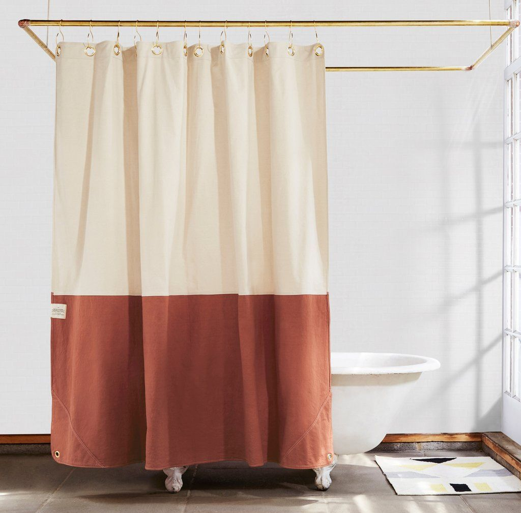 Orient Clay Color Blocked Shower Curtain Modern Home Interior