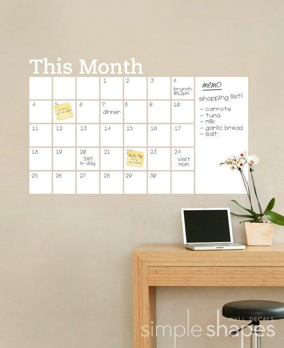 dry erase wall calendar with memo - vinyl wall decal | products