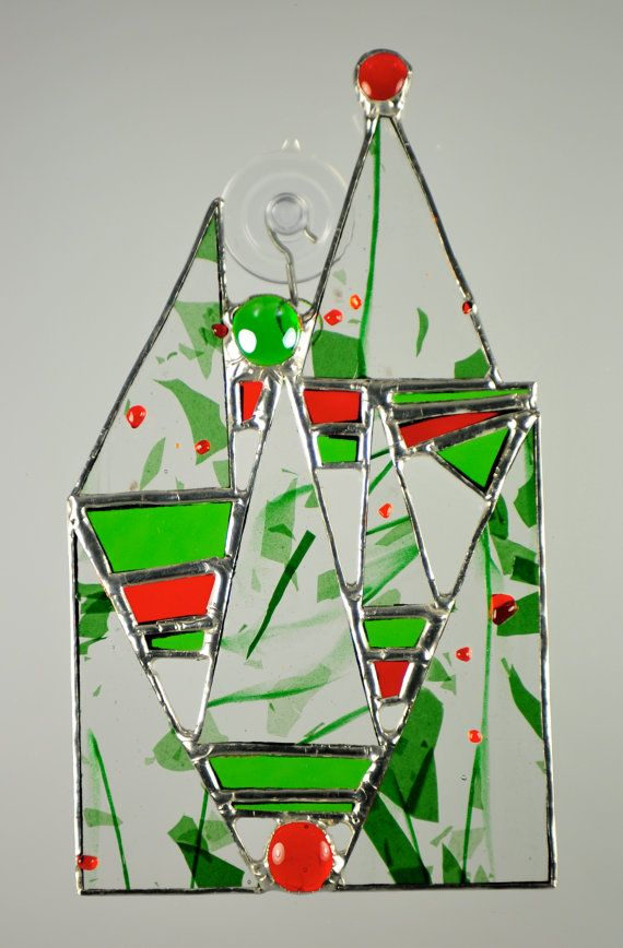 Holiday Art Christmas Tree House stained glass by peaceloveglass