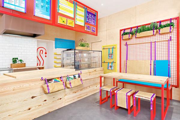 Bright Colorful Restaurant With Branding To Match Design Milk Restaurant Design Inspiration Restaurant Interior Design Colorful Restaurant