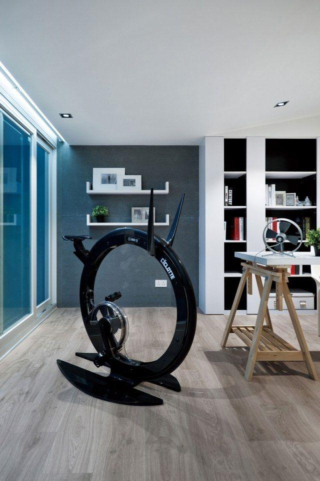 Moderne luxus arbeitszimmer  gestaltung arbeitszimmer fitnessgerät Cyclotte laminatboden ...