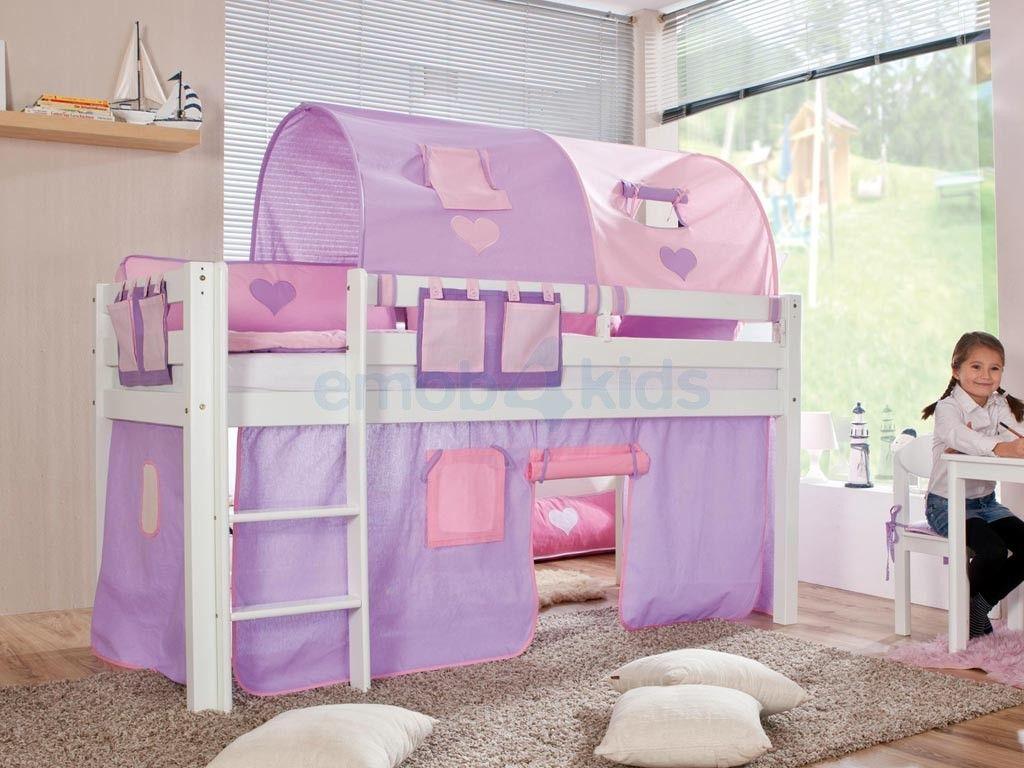 Sofie half hoogslaper beuk wit gelakt meisjes paars roze houten kinderbed met speeltent - Ruimtebesparende mezzanine ...