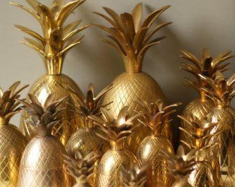 Seau de 10 pouces en laiton ananas. Piña de Oro. Chariot accessoire de bar. Seau à Champagne. Boîte en laiton