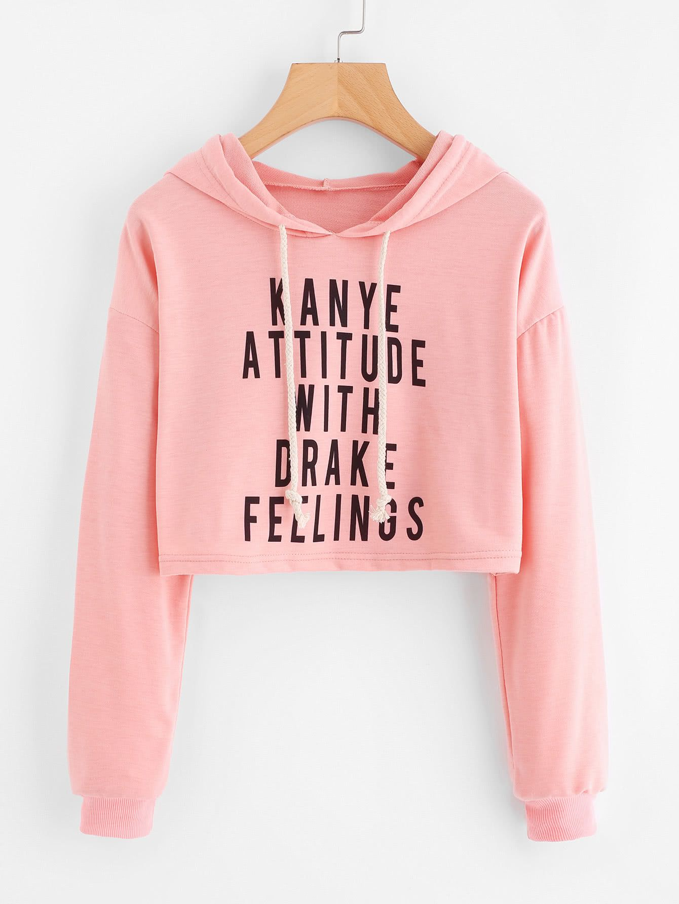 0a141dce137 Drop Shoulder Slogan Print Crop HoodieFor Women-romwe. Drop Shoulder Slogan  Print Crop HoodieFor Women-romwe Crop Top Sweater, Crop Top Hoodie