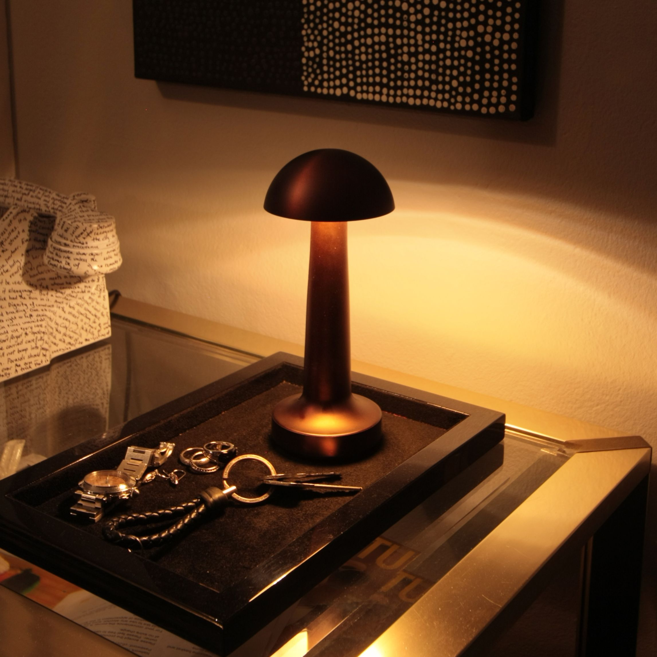 The Cooee 1c Cordless Lamp in Antique Bronze. Home