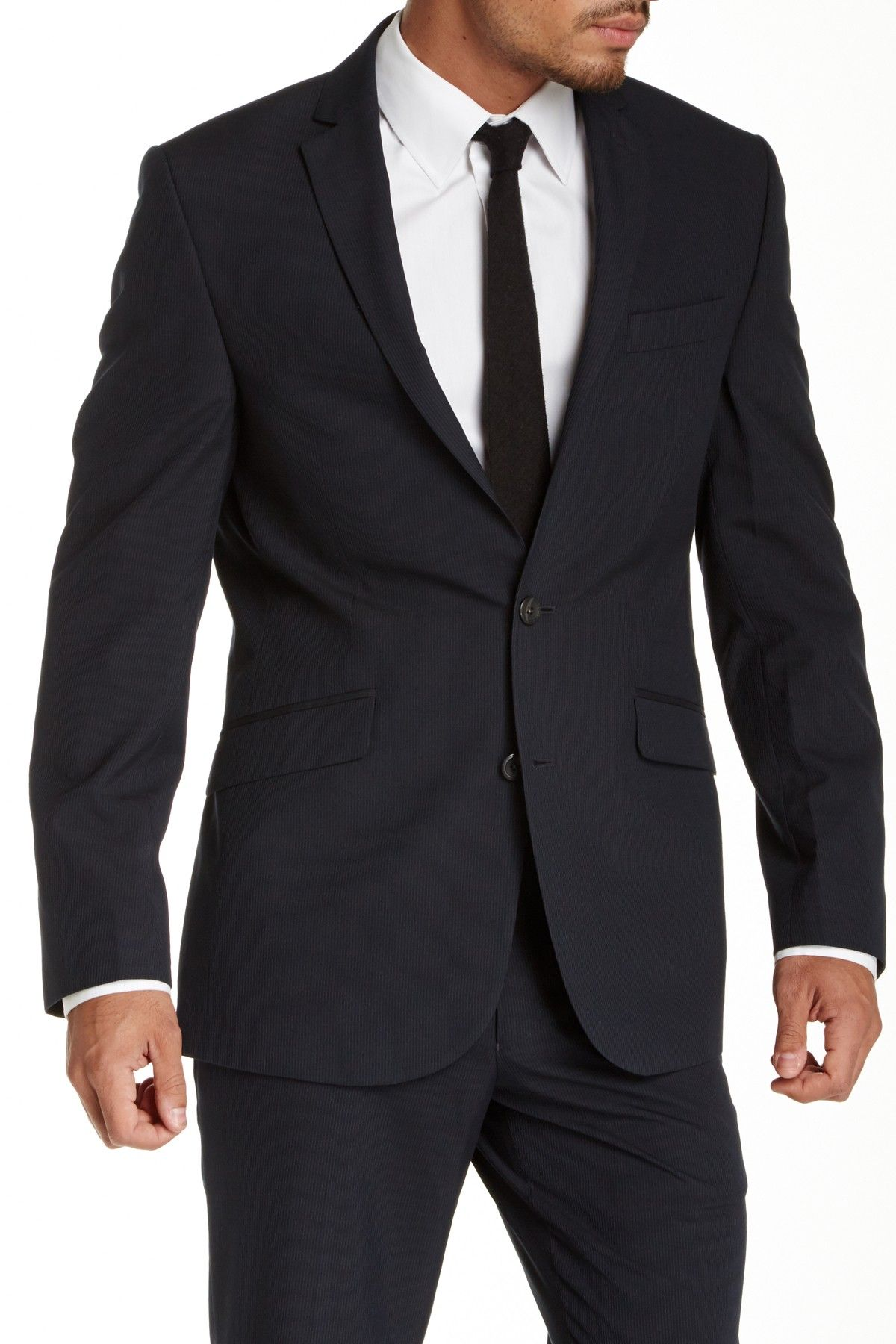 Navy Pinstripe Two Button Component Jacket