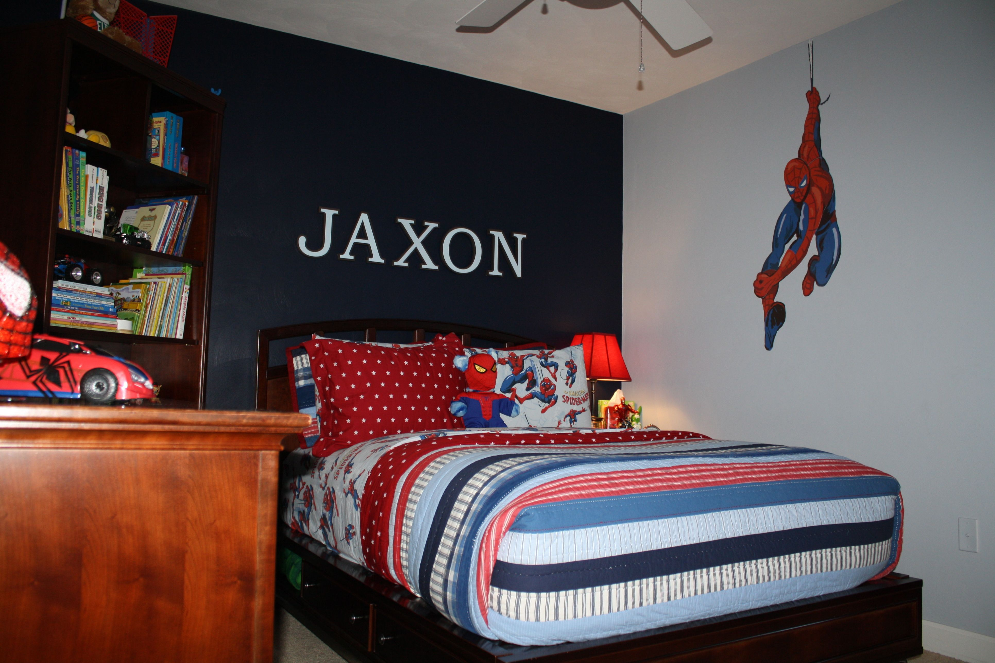 Jax S Spiderman Room Is Finally Complete Spiderman Room Marvel Bedroom Decor Spiderman Bedroom