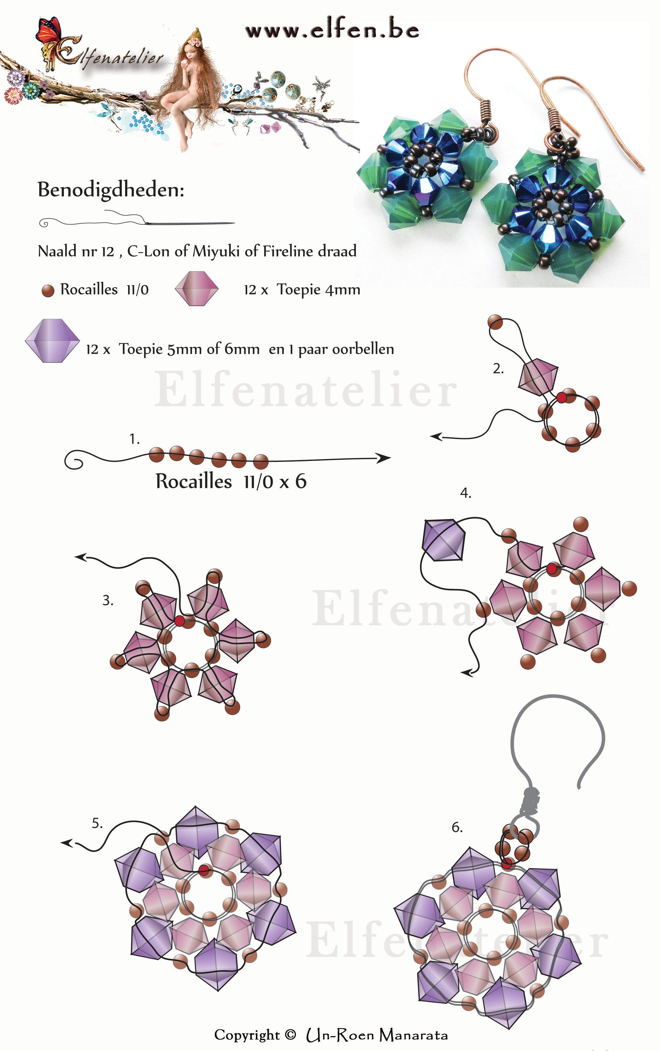 2459b7a0281c Elfenatelier earrings with swarovski elements. AbaloriosCollaresPulseras Tutorial De PendientesPendientes ...