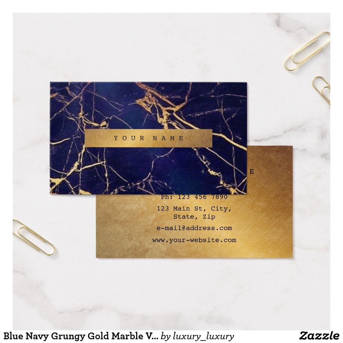 Blue Navy Grungy Gold Marble Vip Business Card | Gold marble and ...