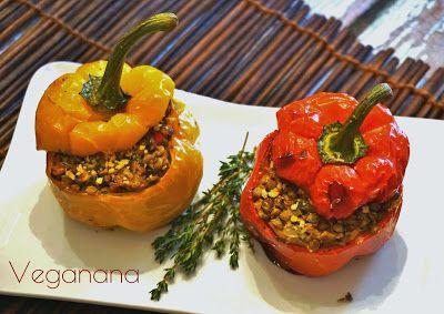 Pimentão Recheado com Lentilhas - Veganana