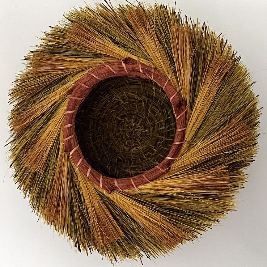 "Adcock uses hand-dyed yucca fiber to create her stunning spiral, coil and stitch basket… [photo: Christine Adcock, ""Sunset,"" Dyed Yucca Fiber, 3"" x 10""] . . #ChristineAdcock #baskets #basketmaker #basketweaver #basketry #contemporarybasketry #wovenbaskets #yucca #coilbaskets #fiberart #fiberarts #agave #agavefiber #cottagecurator #artgallery #localart #shoplocal"