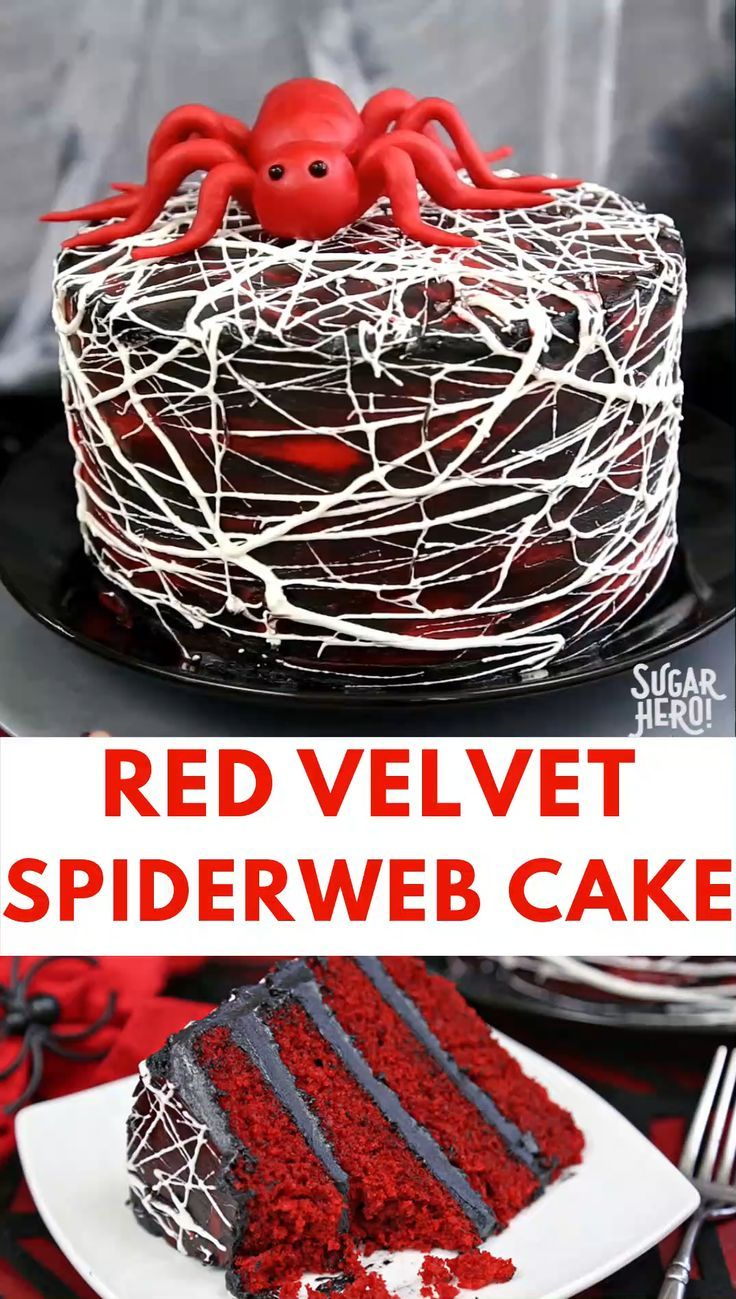 This Red Velvet Marshmallow Spiderweb Cake is a classic red velvet cake, frosted with deep black chocolate buttercream, and covered with a spooky web of spiderwebs, made entirely from marshmallows! | From SugarHero.com #sugarhero #spidercake #redvelvet #halloween #dessert #marshmallow